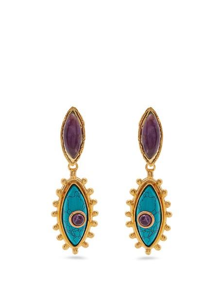 Sylvia Toledano earrings gold blue jewels