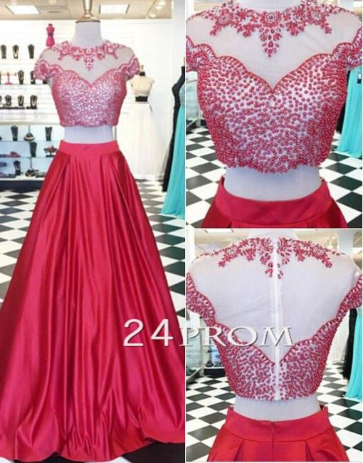 Red 2 Pieces Beaded Long Prom Dresses, Formal Dress - 24prom