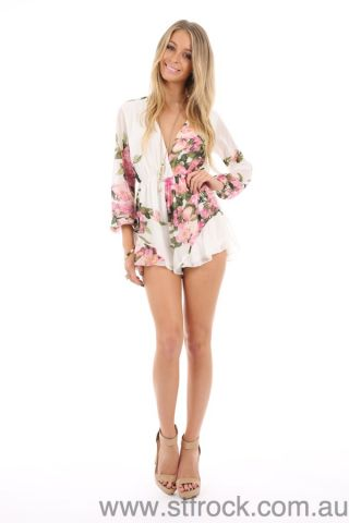 Whats New! :: Frill Seeker Floral Playsuit in Cream Floral -