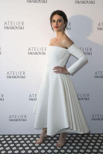 dress penelope cruz white white dress midi dress off the shoulder off the shoulder dress cannes celebrity