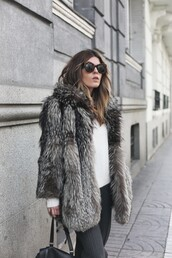 coat,tumblr,fur coat,faux fur coat,big fur coat,grey fur coat,sweater,white sweater,pants,grey pants,sunglasses,black sunglasses,winter work outfit,work outfits
