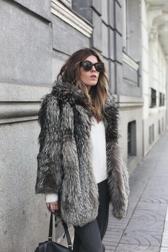 coat tumblr fur coat faux fur coat big fur coat grey fur coat sweater white sweater pants grey pants sunglasses black sunglasses winter work outfit work outfits