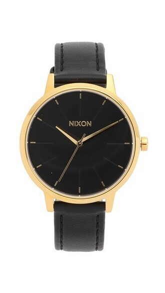 watch gold leather black jewels