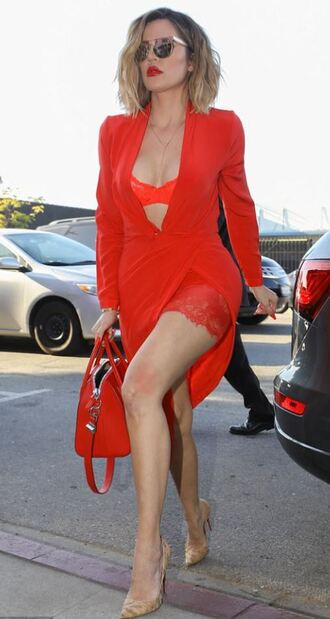 shoes bra khloe kardashian kardashians red red dress spring outfits sexy plunge dress dress
