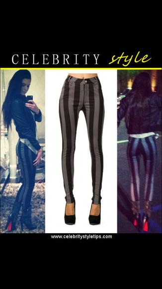 horizontal stripes grey/black highwaisted pants