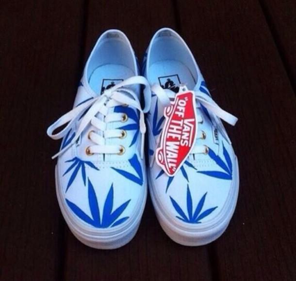 Shoes Huf Weed Vans Printed Vans Blue White