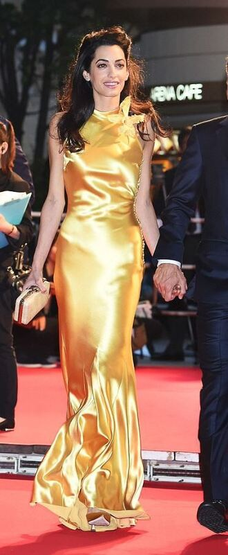 dress gown prom dress amal alamuddin gold yellow red carpet
