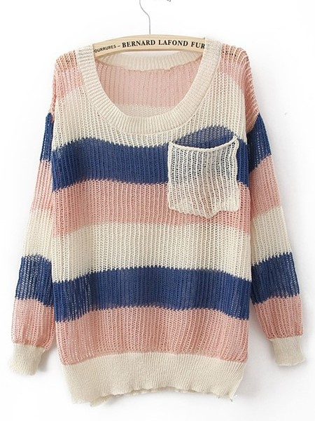 Pink Blue Round Neck Long Sleeve Striped Pockets Cotton Blends Sweaters - Sheinside.com