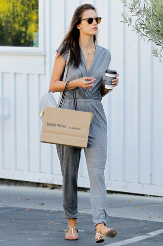 jumpsuit summer summer outfits sandals alessandra ambrosio grey jumpsuit