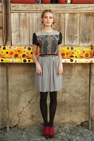 dress floral floral dress belted dress model anthropologie