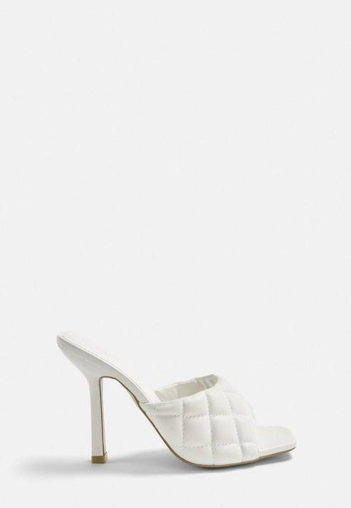 White Quilted High Heel Mule