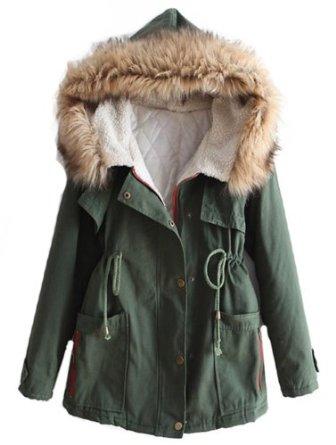 Amazon.com: Sheinside Green Fur Hooded Long Sleeve Drawstring Pockets Coat (One-Size, Green): Clothing