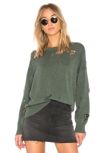 LnA sweater distressed sweater green