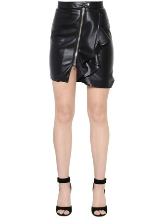 skirt mini skirt mini zip ruffle leather black