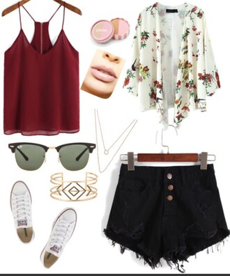 shorts black shorts summer summer shorts summer outfits summer top top high top converse white converse all star red round sunglasses are these ray ban sunglassess kimono outfit outfit idea summer holidays summer accessories fashion