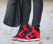 shoes,nike,red,pants,black,zipped pants