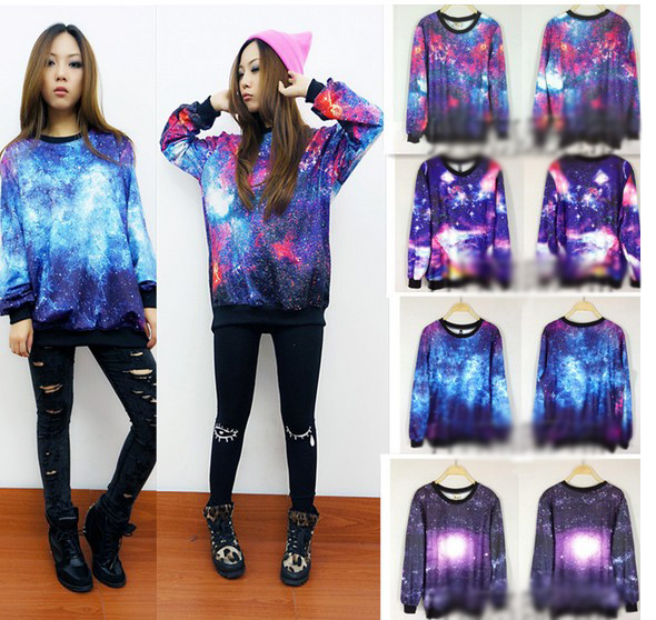 Chic Women's Galaxy Space Starry Print long Sleeve Top Round T Shirt Jumper Top FSTX248 from Fashion4you on Storenvy
