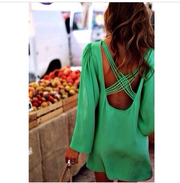 dress green dress fashion open back