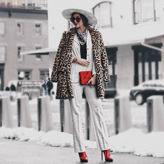 coat tumblr leopard print blazer white blazer pants white pants matching set bag red bag boots red boots high heels boots hat white hat scarf sunglasses winter coat winter outfits winter look fur leopard print winter coat