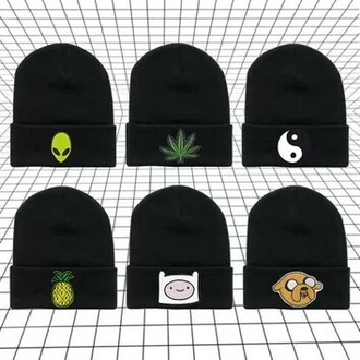 alien beanie tumblr grunge pale grunge trippy weed pineapple adventure time black yin yang etsy