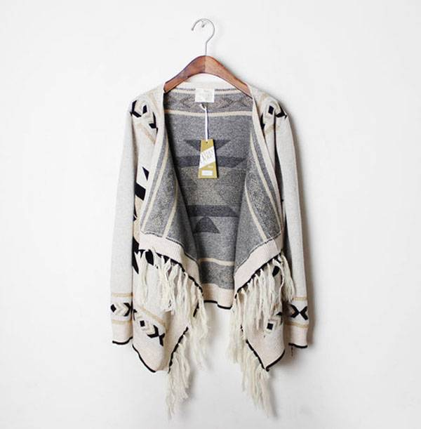 Knitted aztec cardigan with tassel fringe