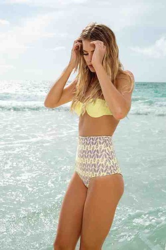swimwear bikini summer beach yellow high waisted bikini