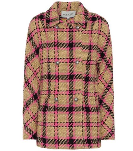 Etro Plaid wool-blend jacket in beige / beige