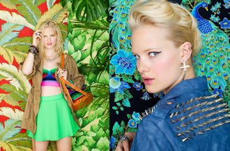 skirt nastygal nastygal.com shopnastygal.com nasty gal may lookbook may lookbook lookbook colorful prints green skirt naven unif unif x nasty gal studded jacket studs studded cross earring printed backpack hacienda bag anorak mixed prints bag jacket
