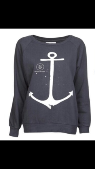 gray crew neck anchor jacket hoodie