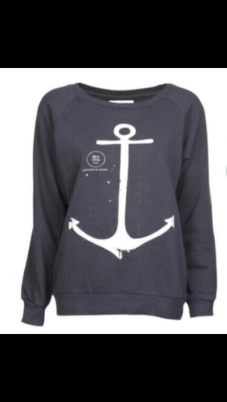 anchor grey crew neck
