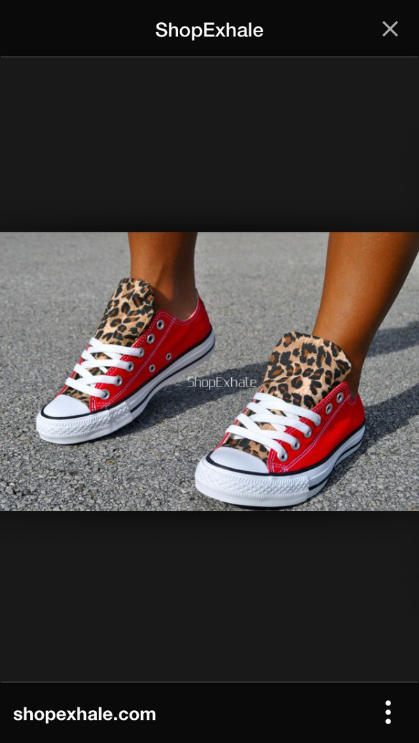 shoes red lepoard print converse