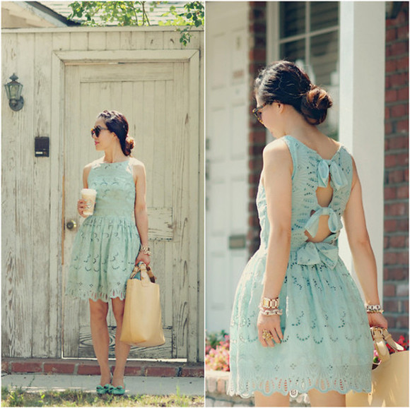 summer scalloped lace dress mint bow fashion cute