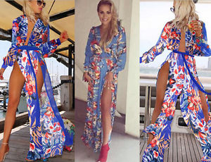 Womens CB Styl Floral Leg Split Wrap Chiffon Prom Evening Long Sleeve Maxi Dress