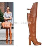 shoes,leather boots brown,boots,brown,over the knee,leather,leather boots,celebrity,blogger,heels