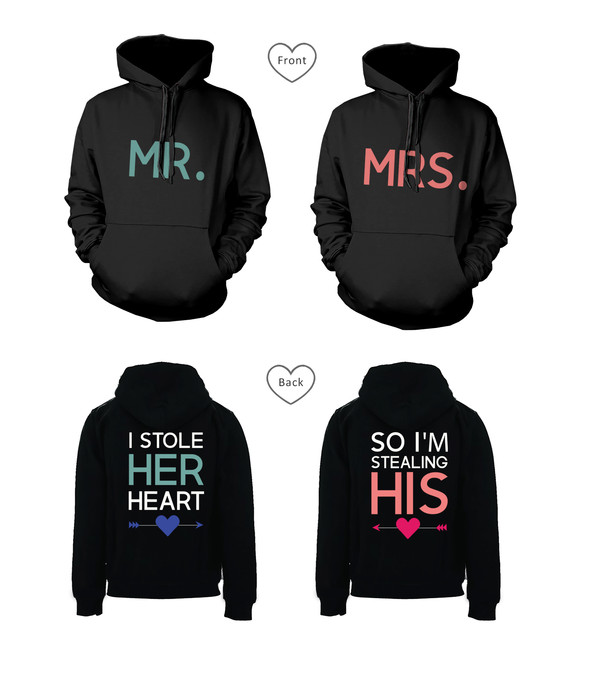 mr and mrs stealing heart stealing heart hoodies stealing heart sweatshirts mr and mrs hoodies his and hers gifts his and hers sweatshirts his and hers hoodies matching couples wedding gifts couple hoodies newlyweds gifts matching couples couple i stole her heart so i'm stealing his