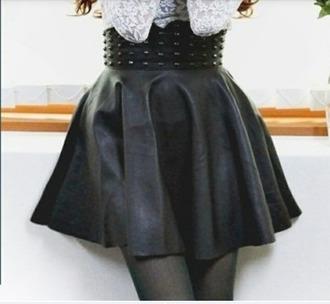black leather skirt studded skirt circle skirt