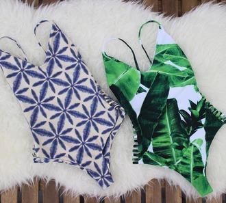 swimwear stone fox swim bikini one piece swimsuit palm tree print