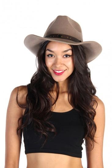 LoveMelrose.com From Harry & Molly | Felt Cowboy Hats - Mild Mocha