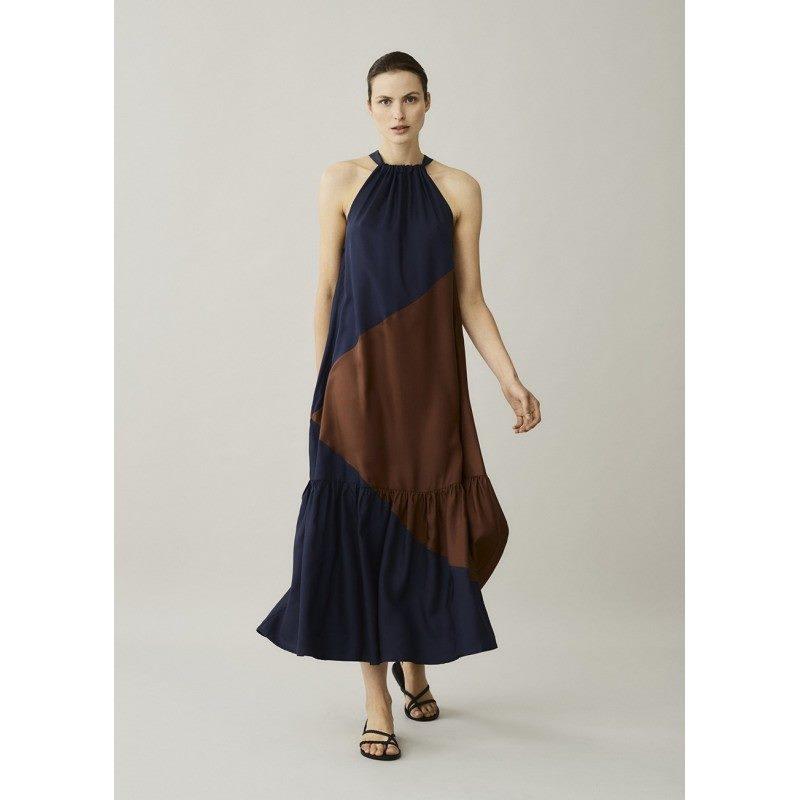 Ibiza Brown & Navy Silk Twill Dress