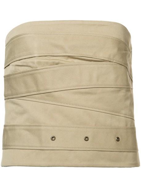 Monse blouse strapless women nude cotton top