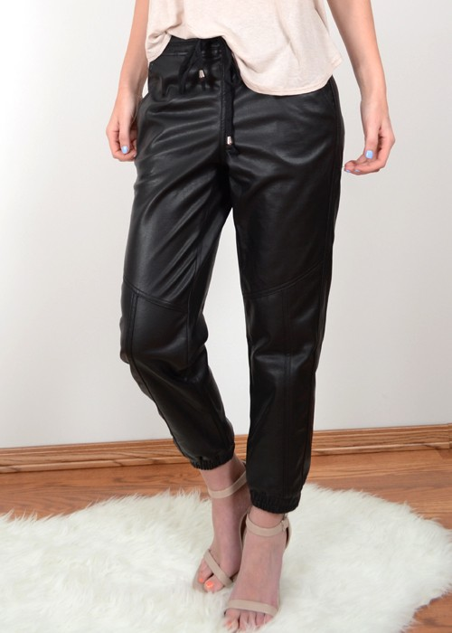 newest style wholesale online the latest Black Leather Drawstring Jogger Pants