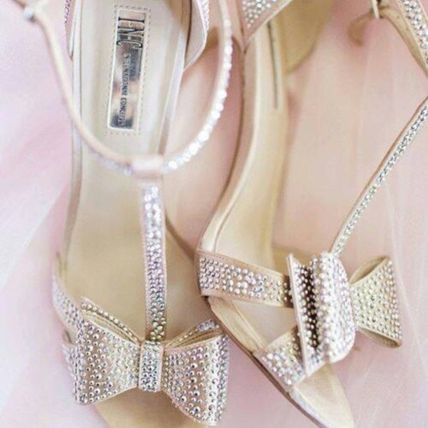 shoes bowtie sparkle heels