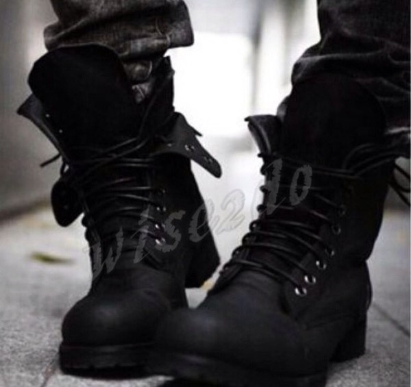 Online Shop Two Colors Retro Combat boots Winter England-style ...