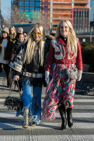 skirt nyfw 2017 fashion week 2017 fashion week streetstyle red skirt printed skirt maxi skirt jacket red jacket leather jacket denim jeans blue jeans ripped jeans boots black boots gold boots metallic metallic shoes black jacket black leather jacket retro sunglasses sunglasses bag embellished bag embellished yellow sunglasses