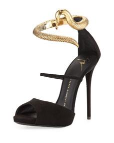 Giuseppe Zanotti Snake-Ankle-Wrap Suede Sandal