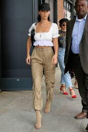 pants,crop tops,crop,blouse,bella hadid,model off-duty,nyfw 2017,ny fashion week 2017,booties,streetstyle,shoes