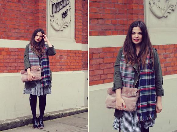 striped skirt blogger scarf missplayground pouch faux fur parka tartan
