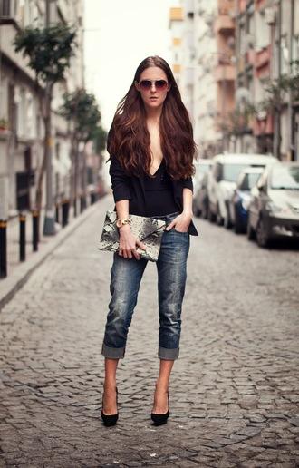 neon rock jacket shoes t-shirt bag jeans black boyfriend jeans black blazer black top black heels blogger sunglasses