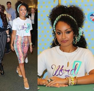 skirt colourful print t-shirt leigh anne little mix
