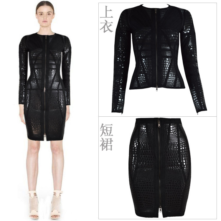 Aliexpress.com : Buy Pre Order 2014 Autumn Winter New Alligator Print 2 Piece Long Sleeve Black Bandage Dress from Reliable bandage cartoon suppliers on Lady Go Fashion Shop